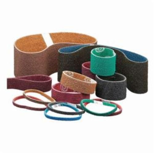 Norton® Bear-Tex® Rapid Prep™ 66254441289 Benchstand Flex Low Stretch Narrow Regular Surface Conditioning Non-Woven Abrasive Belt, 1 in W x 42 in L, Medium Grade, Aluminum Oxide Abrasive, Maroon