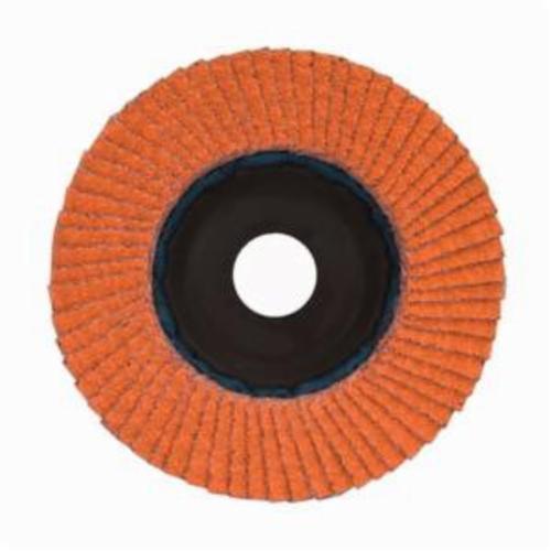 Norton® Blaze® 66254461061 R980P Center Mount Quick-Trim Standard Density Coated Abrasive Flap Disc, 7 in Dia, 7/8 in Center Hole, 80 Grit, Coarse Grade, Ceramic Alumina Abrasive, Type 27/Flat Disc