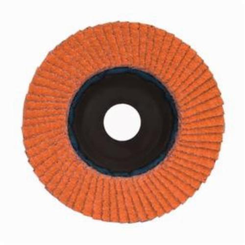 Norton® Blaze® 66254461063 R980P Center Mount Quick-Trim Standard Density Coated Abrasive Flap Disc, 7 in Dia, 7/8 in Center Hole, 120 Grit, Medium Grade, Ceramic Alumina Abrasive, Type 27/Flat Disc