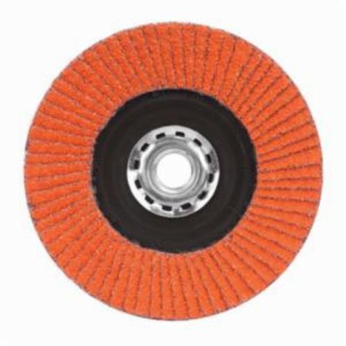 Norton® Blaze® 66254461067 R980P Arbor Thread Quick-Trim Standard Density Coated Abrasive Flap Disc, 7 in Dia, 60 Grit, Coarse Grade, Ceramic Alumina Abrasive, Type 27/Flat Disc