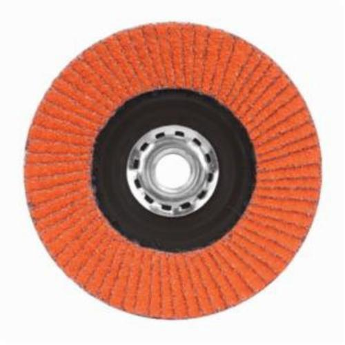 Norton® Blaze® 66254461068 R980P Arbor Thread Quick-Trim Standard Density Coated Abrasive Flap Disc, 7 in Dia, 80 Grit, Coarse Grade, Ceramic Alumina Abrasive, Type 27/Flat Disc