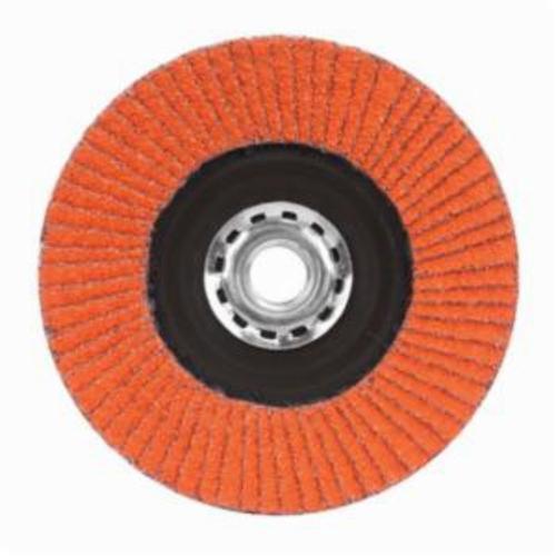 Norton® Blaze® 66254461069 R980P Arbor Thread Quick-Trim Standard Density Coated Abrasive Flap Disc, 7 in Dia, 120 Grit, Medium Grade, Ceramic Alumina Abrasive, Type 27/Flat Disc