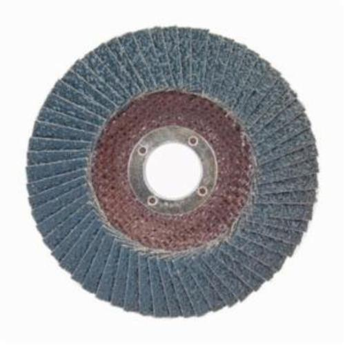 Norton® BlueFire® 66254461155 R884P Center Mount Standard Density Coated Abrasive Flap Disc, 4-1/2 in Dia, 7/8 in Center Hole, P36 Grit, Extra Coarse Grade, Zirconia Alumina Plus Abrasive, Type 29/Conical Disc