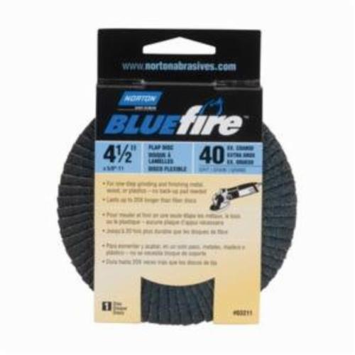 Norton® BlueFire® 66254461167 R884P Arbor Thread Standard Density Coated Abrasive Flap Disc, 4-1/2 in Dia, P40 Grit, Extra Coarse Grade, Zirconia Alumina Plus Abrasive, Type 29/Conical Disc