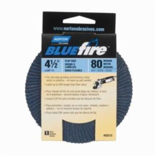 Norton® BlueFire® 66254461173 R884P Arbor Thread Standard Density Coated Abrasive Flap Disc, 4-1/2 in Dia, P80 Grit, Coarse Grade, Zirconia Alumina Plus Abrasive, Type 29/Conical Disc
