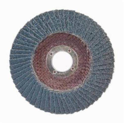 Norton® BlueFire® 66254461174 R884P Center Mount Standard Density Coated Abrasive Flap Disc, 5 in Dia, 7/8 in Center Hole, P36 Grit, Extra Coarse Grade, Zirconia Alumina Plus Abrasive, Type 29/Conical Disc