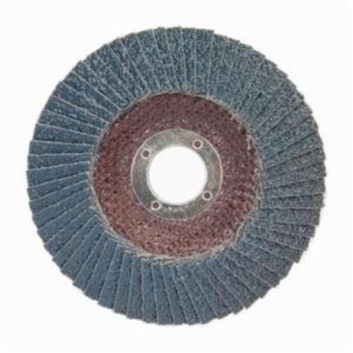 Norton® BlueFire® 66254461183 R884P Center Mount Standard Density Coated Abrasive Flap Disc, 7 in Dia, 7/8 in Center Hole, P40 Grit, Extra Coarse Grade, Zirconia Alumina Plus Abrasive, Type 29/Conical Disc