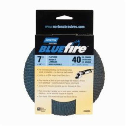 Norton® BlueFire® 66254461190 R884P Arbor Thread Standard Density Coated Abrasive Flap Disc, 7 in Dia, P40 Grit, Extra Coarse Grade, Zirconia Alumina Plus Abrasive, Type 29/Conical Disc
