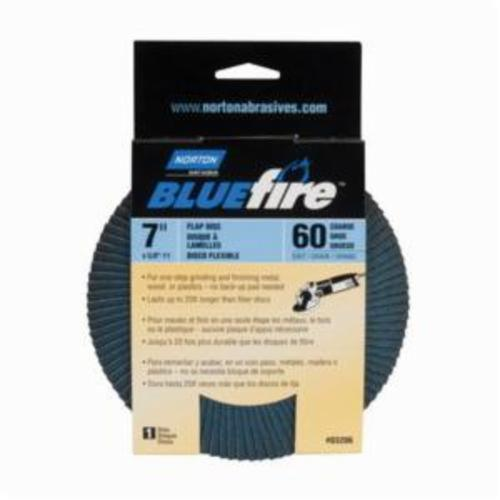 Norton® BlueFire® 66254461192 R884P Arbor Thread Standard Density Coated Abrasive Flap Disc, 7 in Dia, P60 Grit, Coarse Grade, Zirconia Alumina Plus Abrasive, Type 29/Conical Disc