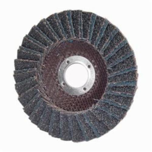 Norton® PowerFlex® 66254472653 R828 Center Mount Standard Density Coated Abrasive Flap Disc, 4-1/2 in Dia, 7/8 in Center Hole, P36 Grit, Extra Coarse Grade, Zirconia Alumina Abrasive, Type 27/Flat Disc