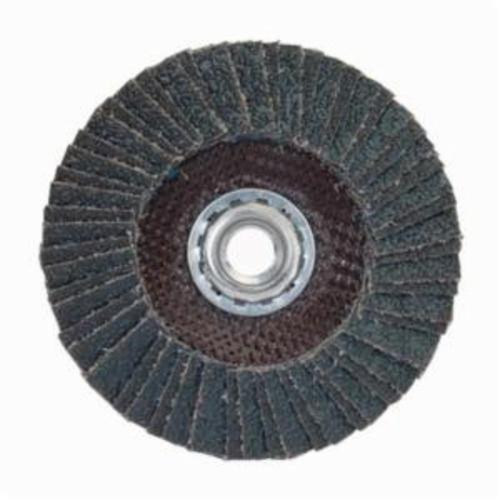 Norton® PowerFlex® 66254472656 R828 Arbor Thread Standard Density Coated Abrasive Flap Disc, 4-1/2 in Dia, P60 Grit, Coarse Grade, Zirconia Alumina Abrasive, Type 27/Flat Disc