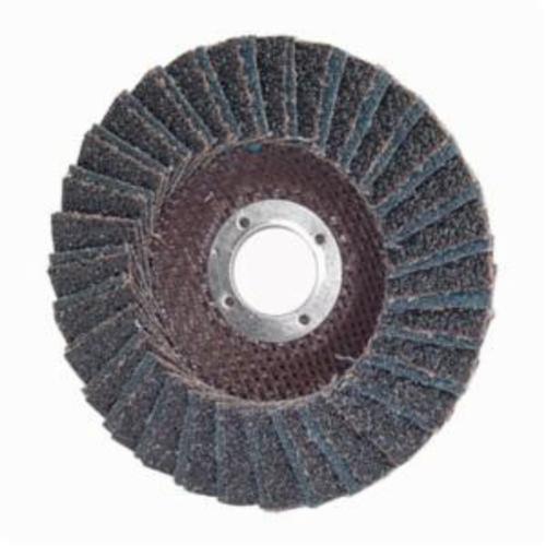 Norton® PowerFlex® 66254472660 R828 Center Mount Standard Density Coated Abrasive Flap Disc, 5 in Dia, 7/8 in Center Hole, P40 Grit, Extra Coarse Grade, Zirconia Alumina Abrasive, Type 27/Flat Disc
