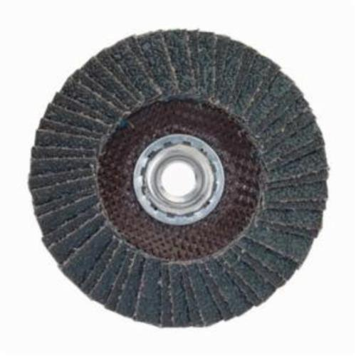 Norton® PowerFlex® 66254472669 R828 Arbor Thread Standard Density Coated Abrasive Flap Disc, 7 in Dia, P36 Grit, Extra Coarse Grade, Zirconia Alumina Abrasive, Type 27/Flat Disc