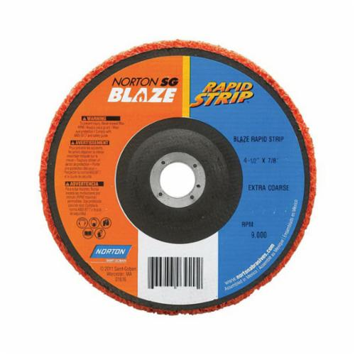 Norton® Blaze® Rapid Strip™ 66254498101 Non-Woven Depressed Center Disc, 4-1/2 in Dia, 36 to 50 Grit, Extra Coarse Grade, Ceramic Alumina Abrasive, Fiberglass Backing