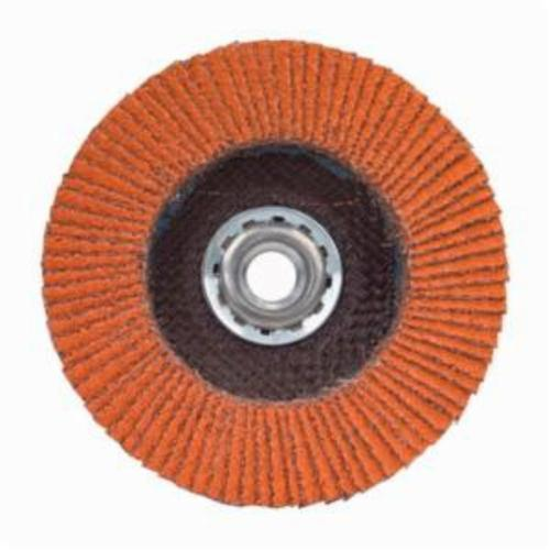 Norton® Blaze® 66254499894 R980P Arbor Thread High Density Coated Abrasive Flap Disc, 4-1/2 in Dia, 36 Grit, Extra Coarse Grade, Ceramic Alumina Abrasive, Type 27/Flat Disc