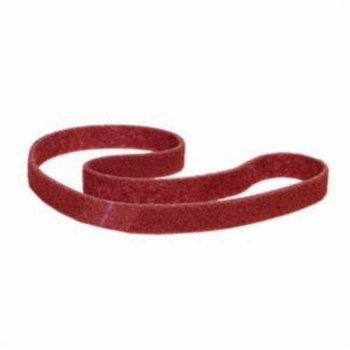 Norton® Bear-Tex® Rapid Prep™ 66261011414 Backstand Flex Low Stretch Narrow Regular Surface Conditioning Non-Woven Abrasive Belt, 1 in W x 132 in L, Medium Grade, Aluminum Oxide Abrasive, Maroon
