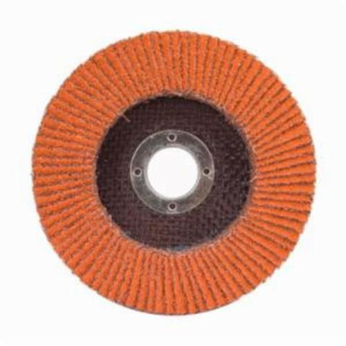 Norton® Blaze® 66261020628 R980P Center Mount High Density Coated Abrasive Flap Disc, 4-1/2 in Dia, 7/8 in Center Hole, 40 Grit, Extra Coarse Grade, Ceramic Alumina Abrasive, Type 27/Flat Disc