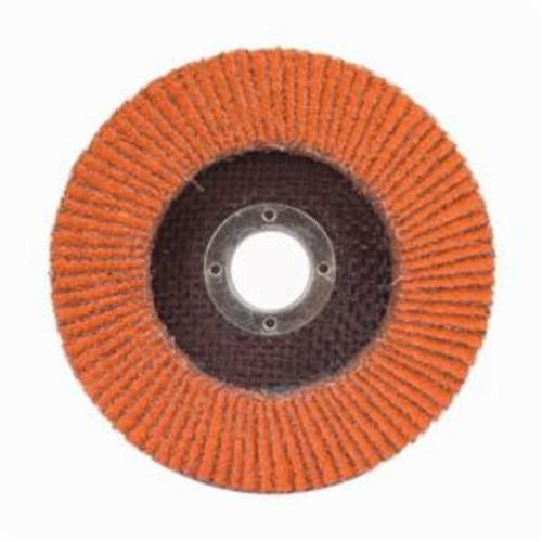 Norton® Blaze® 66261097678 R980P Center Mount High Density Coated Abrasive Flap Disc, 4-1/2 in Dia, 7/8 in Center Hole, 36 Grit, Extra Coarse Grade, Ceramic Alumina Abrasive, Type 27/Flat Disc