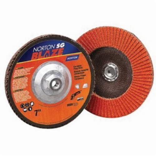 Norton® Blaze® 66261183489 R980P Center Mount Standard Density Coated Abrasive Flap Disc, 4-1/2 in Dia, 7/8 in Center Hole, 80 Grit, Coarse Grade, Ceramic Alumina Abrasive, Type 29/Conical Disc