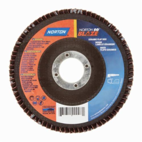 Norton® Blaze® 66261100003 R980 Standard Density Coated Abrasive Flap Disc, 4-1/2 in Dia, 7/8 in Center Hole, 60 Grit, Coarse Grade, Ceramic Alumina Abrasive, Type 27/Flat Disc