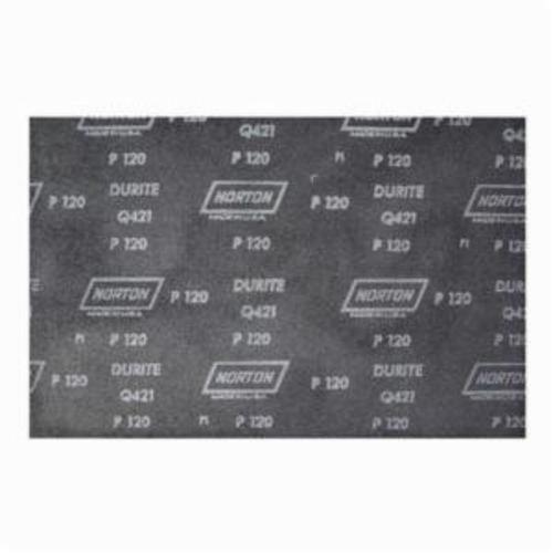 Norton® Durite® 66261100945 Q421 Coated Sanding Sheet, 11 in L x 9 in W, P150 Grit, Fine Grade, Silicon Carbide Abrasive, Screen-Bak™ Backing