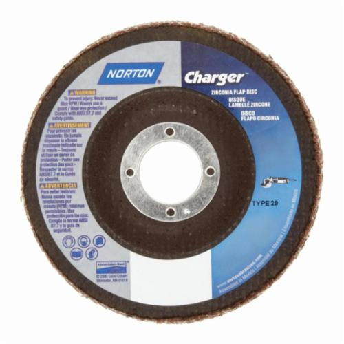 Norton® Charger™ 66261119269 R822 Center Mount Standard Density Versatile Coated Abrasive Flap Disc, 4-1/2 in Dia, 7/8 in Center Hole, P40 Grit, Extra Coarse Grade, Zirconia Alumina Abrasive, Type 29/Conical Disc