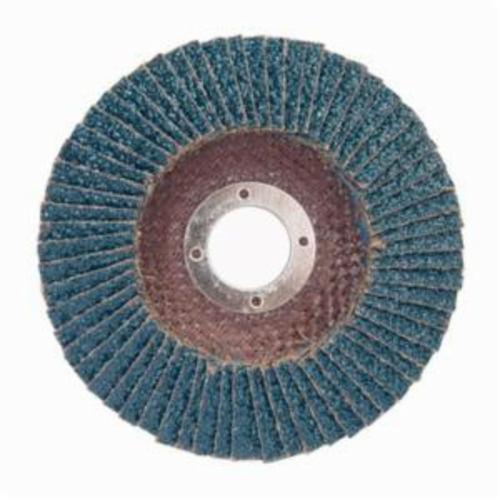Norton® Charger™ 66261119267 R822 Center Mount Coated Abrasive Flap Disc, 4-1/2 in Dia, 7/8 in Center Hole, P80 Grit, Coarse Grade, Zirconia Alumina Abrasive, Type 29/Conical Disc