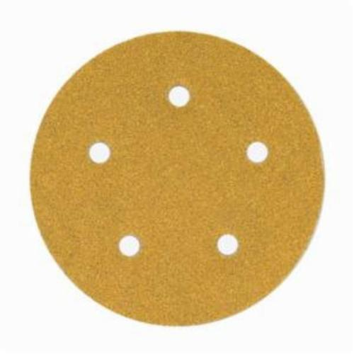 Norton® No-Fil® Adalox® 66261130227 A290 Hook and Loop Disc, 5 in Dia, P320 Grit, Extra Fine Grade, Aluminum Oxide Abrasive, Latex Paper Backing