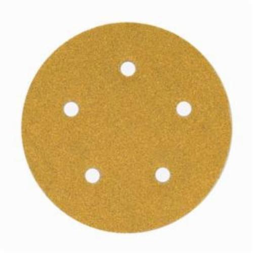 Norton® No-Fil® Adalox® 66261130232 A290 Hook and Loop Disc, 5 in Dia, P150 Grit, Fine Grade, Aluminum Oxide Abrasive, Latex Paper Backing