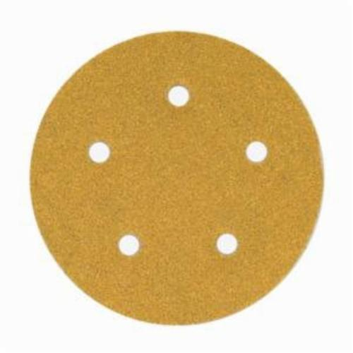 Norton® No-Fil® Adalox® 66261130235 A290 Hook and Loop Disc, 5 in Dia, P80 Grit, Coarse Grade, Aluminum Oxide Abrasive, Latex Paper Backing