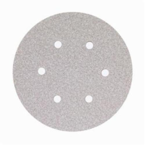 Norton® No-Fil® Adalox® 66261131593 A275 Hook and Loop Disc, 6 in Dia, P280 Grit, Fine Grade, Aluminum Oxide Abrasive, Latex Paper Backing