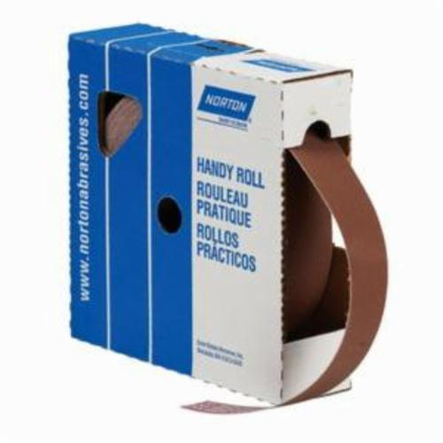 Norton® Metalite® 66261134304 K225 Coated Abrasive Roll, 10 yd L x 1 in W, 320 Grit, Extra Fine Grade, Aluminum Oxide Abrasive, Cotton Backing