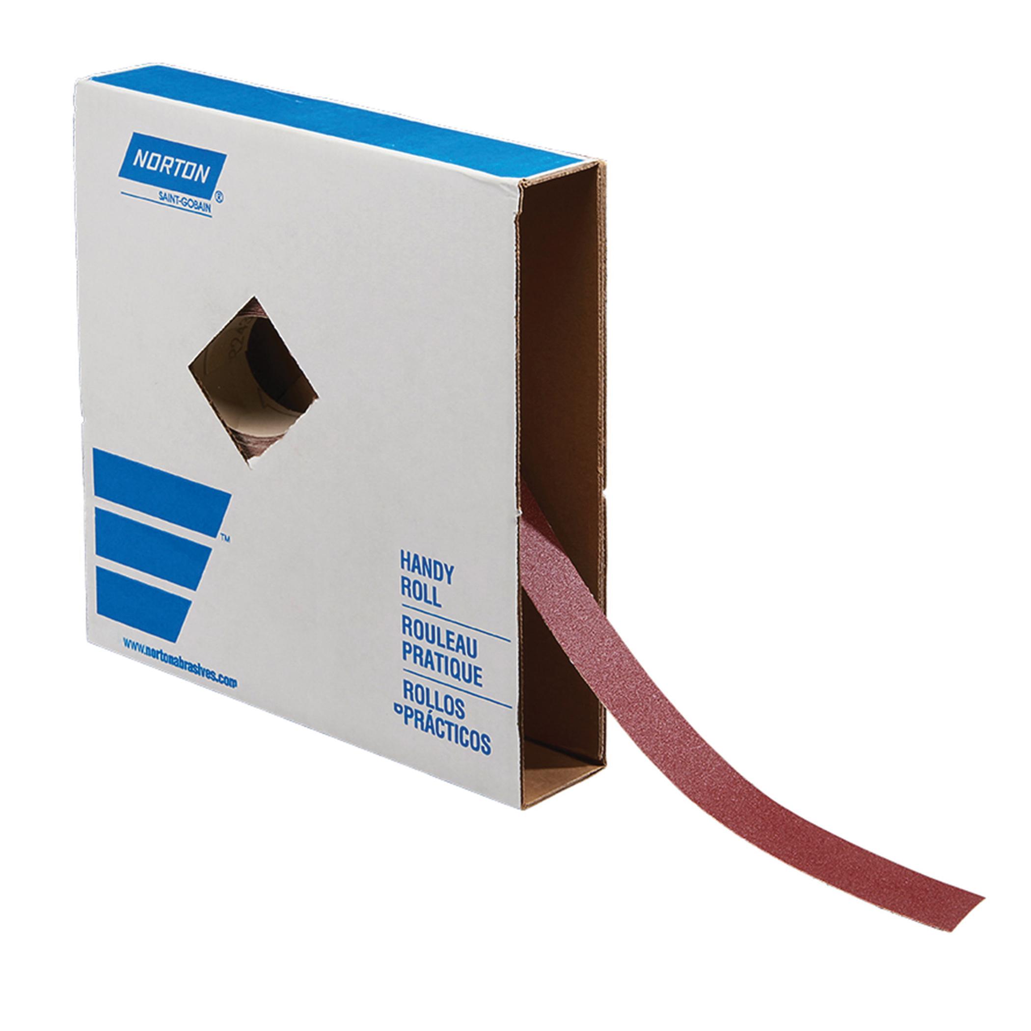 Norton® 66261136199 R243 Coated Abrasive Roll, 50 yd L x 1-1/2 in W, 180 Grit, Fine Grade, Aluminum Oxide Abrasive, Cotton Backing
