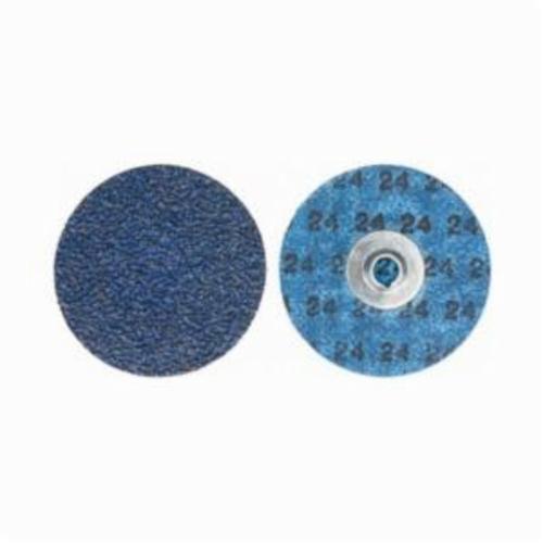 Norton® BlueFire® 66261138665 R884P Coated Abrasive Quick-Change Disc, 3 in Dia, 24 Grit, Extra Coarse Grade, Zirconia Alumina Abrasive, Type TS (Type II) Attachment