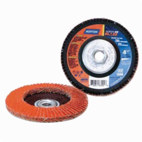 Norton® Blaze® 66261183490 R980 Standard Density Coated Abrasive Flap Disc, 4-1/2 in Dia, 36 Grit, Extra Coarse Grade, Ceramic Alumina Abrasive, Type 29/Conical Disc