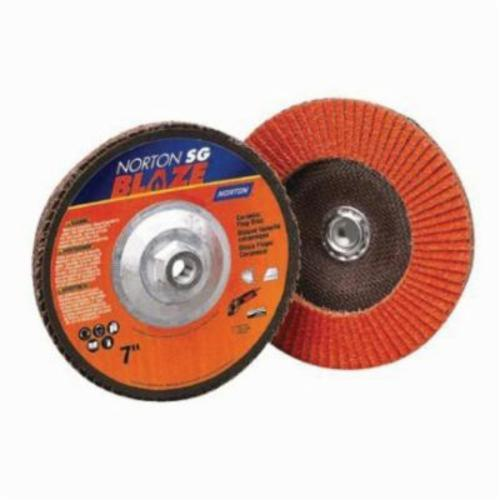Norton® Blaze® 66261183493 R980 Standard Density Coated Abrasive Flap Disc, 4-1/2 in Dia, 80 Grit, Medium Grade, Ceramic Alumina Abrasive, Type 29/Conical Disc