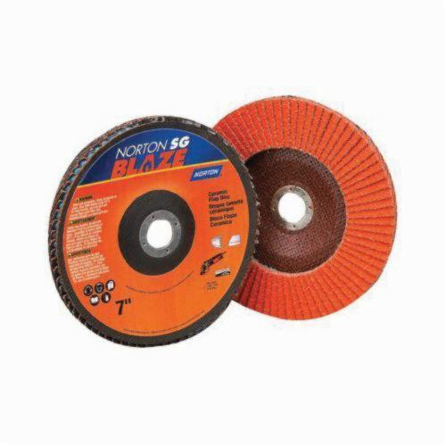Norton® Blaze® 66261190001 R980 Standard Density Coated Abrasive Flap Disc, 5 in Dia, 7/8 in Center Hole, 36 Grit, Extra Coarse Grade, Ceramic Alumina Abrasive, Type 29/Conical Disc