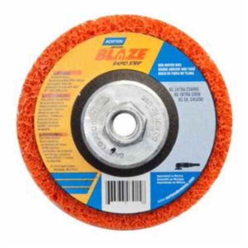 Norton® Blaze® Rapid Strip™ 66623303915 Non-Woven Depressed Center Disc, 5 in Dia, 36 to 50 Grit, Extra Coarse Grade, Ceramic Alumina Abrasive, Fiberglass Backing