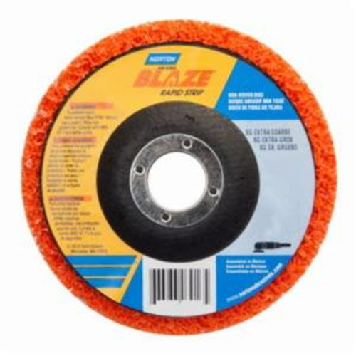 Norton® Blaze® Rapid Strip™ 66623303916 Non-Woven Depressed Center Disc, 5 in Dia, 36 to 50 Grit, Extra Coarse Grade, Ceramic Alumina Abrasive, Fiberglass Backing
