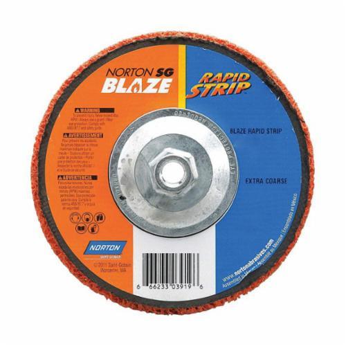 Norton® Blaze® Rapid Strip™ 66623303919 Non-Woven Depressed Center Disc, 7 in Dia, 36 to 50 Grit, Extra Coarse Grade, Ceramic Alumina Abrasive, Fiberglass Backing
