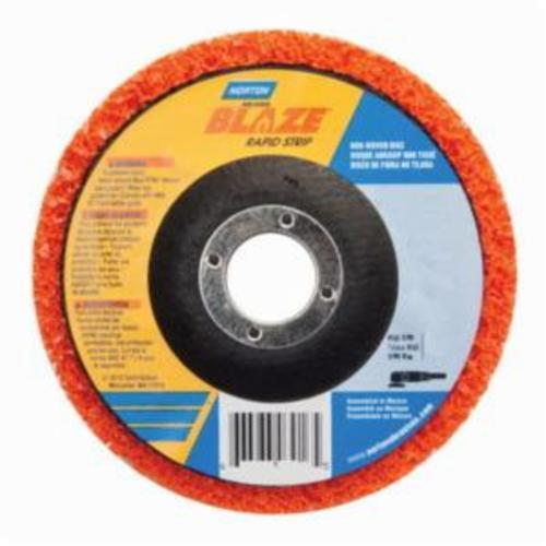 Norton® Blaze® Rapid Strip™ 66623303920 Non-Woven Depressed Center Disc, 7 in Dia, 36 to 50 Grit, Extra Coarse Grade, Ceramic Alumina Abrasive, Fiberglass Backing