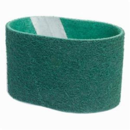 Norton® Bear-Tex® Rapid Prep™ 66623333452 Low Flex Highest Density Portable Stiffest Surface Conditioning Non-Woven Abrasive Belt, 3-1/2 in W x 15-1/2 in L, Fine Grade, Aluminum Oxide Abrasive, Green
