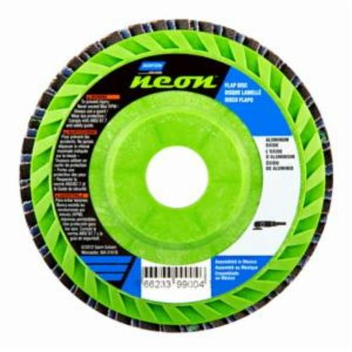 Norton® Neon® 66623399004 R766 Center Mount Quick-Trim Standard Density Coated Abrasive Flap Disc, 4-1/2 in Dia, 7/8 in Center Hole, P40 Grit, Extra Coarse Grade, Aluminum Oxide/Zirconia Alumina Abrasive, Type 27/Flat Disc