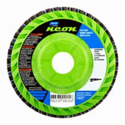 Norton® Neon® 66623399007 R766 Center Mount Quick-Trim Standard Density Coated Abrasive Flap Disc, 4-1/2 in Dia, 7/8 in Center Hole, P120 Grit, Medium Grade, Aluminum Oxide/Zirconia Alumina Abrasive, Type 27/Flat Disc