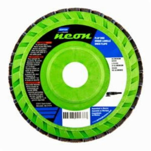 Norton® Neon® 66623399011 R766 Center Mount Quick-Trim Standard Density Coated Abrasive Flap Disc, 5 in Dia, 7/8 in Center Hole, P120 Grit, Medium Grade, Aluminum Oxide/Zirconia Alumina Abrasive, Type 27/Flat Disc