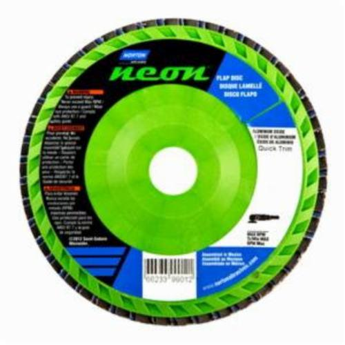 Norton® Neon® 66623399012 R766 Center Mount Quick-Trim Standard Density Coated Abrasive Flap Disc, 6 in Dia, 7/8 in Center Hole, P40 Grit, Extra Coarse Grade, Aluminum Oxide/Zirconia Alumina Abrasive, Type 27/Flat Disc