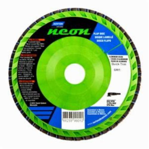 Norton® Neon® 66623399015 R766 Center Mount Quick-Trim Standard Density Coated Abrasive Flap Disc, 6 in Dia, 7/8 in Center Hole, P120 Grit, Medium Grade, Aluminum Oxide/Zirconia Alumina Abrasive, Type 27/Flat Disc