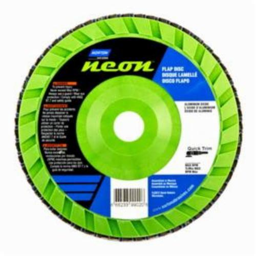 Norton® Neon® 66623399020 R766 Center Mount Quick-Trim Standard Density Coated Abrasive Flap Disc, 7 in Dia, 7/8 in Center Hole, P40 Grit, Extra Coarse Grade, Aluminum Oxide/Zirconia Alumina Abrasive, Type 27/Flat Disc
