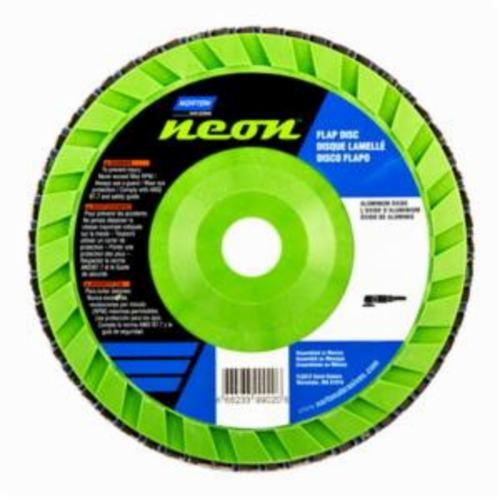 Norton® Neon® 66623399023 R766 Center Mount Quick-Trim Standard Density Coated Abrasive Flap Disc, 7 in Dia, 7/8 in Center Hole, P120 Grit, Medium Grade, Aluminum Oxide/Zirconia Alumina Abrasive, Type 27/Flat Disc