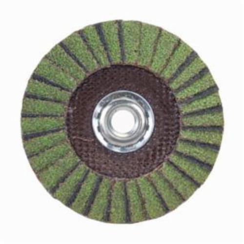 Norton® Neon® 66623399030 R766 Arbor Thread Standard Density Coated Abrasive Flap Disc, 4-1/2 in Dia, P60 Grit, Coarse Grade, Aluminum Oxide/Zirconia Alumina Abrasive, Type 29/Conical Disc